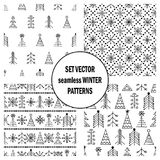Σύνολο άνευ ραφής διανυσματικών σχεδίων με fir-trees, snowflakes εποχιακό χειμερινό υπόβαθρο με το χαριτωμένο συρμένο χέρι γραφικ Στοκ εικόνες με δικαίωμα ελεύθερης χρήσης