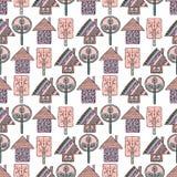 Σύνολο άνευ ραφής διανυσματικών σχεδίων με fir-trees, snowflakes απεικόνιση αποθεμάτων