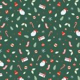Σύνολο άνευ ραφής σχεδίου αποκριών με Άγιο Βασίλη, κουδούνια, σφαίρα Χριστουγέννων, κάλαμοι καραμελών, δώρο, κάλτσες, φύλλο Χριστ στοκ εικόνα με δικαίωμα ελεύθερης χρήσης