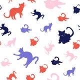 Σύνολο άνευ ραφής σχεδίου γατών σκιαγραφιών απεικόνιση αποθεμάτων