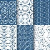 Σύνολο 6 άνευ ραφής σχεδίων δαντελλών Άσπρο, μπλε γεωμετρικό σχέδιο Στοκ Εικόνες