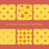 Σύνολο άνευ ραφής σχεδίων φθινοπώρου Πορτοκαλιά μήλα, φύλλα, κολοκύθες απεικόνιση αποθεμάτων