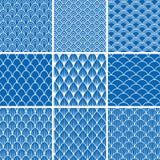 Σύνολο άνευ ραφής υποβάθρων από τις κλίμακες ψαριών μπλε και άσπρος απεικόνιση αποθεμάτων