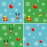 Σύνολο άνευ ραφής υποβάθρων με τις διακοσμήσεις Χριστουγέννων Στοκ φωτογραφία με δικαίωμα ελεύθερης χρήσης