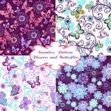 Σύνολο άνευ ραφής floral σχεδίων με τις πεταλούδες και τις καρδιές Στοκ Εικόνες