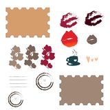 Σύνολο άνοιξη και με τα γραμματόσημα αγάπης διανυσματική απεικόνιση