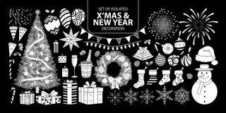 Σύνολο άσπρης διακόσμησης σκιαγραφιών για τα Χριστούγεννα και το νέο έτος Διανυσματική απεικόνιση στο άσπρο αεροπλάνο καμία περίλ Στοκ φωτογραφία με δικαίωμα ελεύθερης χρήσης