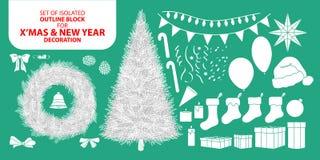 Σύνολο άσπρου φραγμού διακοσμήσεων σκιαγραφιών για τα Χριστούγεννα και το νέο έτος Διανυσματική απεικόνιση στο άσπρο αεροπλάνο κα Στοκ Εικόνα