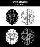 Σύνολο άσπρων και μαύρων ανθρώπινων εγκεφάλων εικονιδίων επίσης corel σύρετε το διάνυσμα απεικόνισης Στοκ εικόνες με δικαίωμα ελεύθερης χρήσης