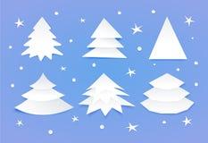 Σύνολο άσπρων κενών χριστουγεννιάτικων δέντρων Στοκ εικόνα με δικαίωμα ελεύθερης χρήσης