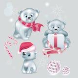 Σύνολο άσπρων χαριτωμένων διανυσματικών Χριστουγέννων αρκούδων απεικόνιση αποθεμάτων
