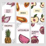 Σύνολο έξι προτύπων καρτών με συρμένα τα χέρι φρούτα απεικόνιση αποθεμάτων