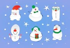Σύνολο έξι χαριτωμένων χιονανθρώπων Στοκ Εικόνα