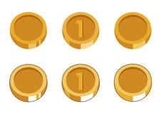 Σύνολο έξι χρυσών νομισμάτων ελεύθερη απεικόνιση δικαιώματος