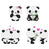 Σύνολο αγάπης pandas Kawaii Στοκ Φωτογραφία