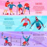 Σύνολο αθλητικών επίπεδο εμβλημάτων με ειδικές ανάγκες ατόμων απεικόνιση αποθεμάτων