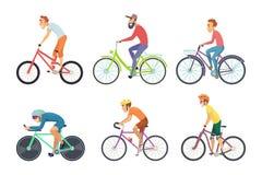 Σύνολο αθλητικών τύπων ποδηλάτων Χαρακτήρες κινουμένων σχεδίων που οδηγούν τα διάφορα ποδήλατα διανυσματική απεικόνιση