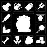 Σύνολο αλευριού, σούσια, φουντούκι, χασάπης, Apple, Jawbreaker, γαλακτοκομείο Διανυσματική απεικόνιση