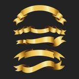 Σύνολο αναδρομικής χρυσής διανυσματικής απεικόνισης κορδελλών όμορφος εορταστικός τόξο σημαιών εμβλημάτων ταινιών Στη μαύρη ανασκ διανυσματική απεικόνιση