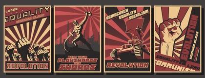 Σύνολο αναδρομικών αφισών προπαγάνδας κομμουνισμού στοκ εικόνες
