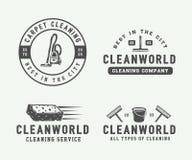 Σύνολο αναδρομικών καθαρίζοντας διακριτικών, εμβλημάτων και ετικετών λογότυπων Στοκ εικόνες με δικαίωμα ελεύθερης χρήσης