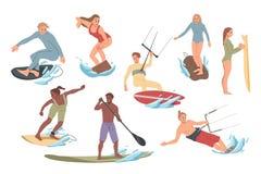 Σύνολο ανθρώπων που εκτελούν τις δραστηριότητες στο νερό που κάνει σερφ, οδήγηση Θερινός ελεύθερος χρόνος απεικόνιση αποθεμάτων