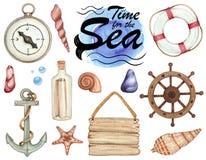 Σύνολο απεικονίσεων watercolor του θέματος θάλασσας που απομονώνονται στοκ φωτογραφία με δικαίωμα ελεύθερης χρήσης