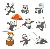 Σύνολο απεικόνισης κινούμενων σχεδίων Η χαριτωμένη Panda αντέχει για σας το σχέδιο Στοκ εικόνα με δικαίωμα ελεύθερης χρήσης