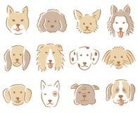 Σύνολο απεικόνισης προσώπου σκυλιών συρμένα χέρι διάφορα χαριτωμένα σκυλιά Στοκ Φωτογραφίες