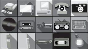 Σύνολο απλών επίπεδων εικονιδίων ύφους με τη μακριά σκιά από την παλαιά αναδρομική εκλεκτής ποιότητας ηλεκτρονική hipster, κινητά διανυσματική απεικόνιση