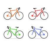 Σύνολο απλών ζωηρόχρωμων εικονιδίων ποδηλάτων ελεύθερη απεικόνιση δικαιώματος