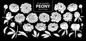 Σύνολο απομονωμένης άσπρης σκιαγραφίας peony σε 21 μορφές Χαριτωμένη συρμένη χέρι διανυσματική απεικόνιση λουλουδιών στο άσπρο αε Στοκ Εικόνες