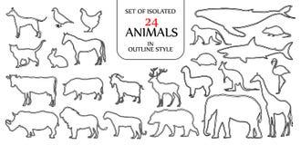 Σύνολο απομονωμένης απεικόνισης 24 ζώων στη διπλή μαύρη περίληψη Στοκ εικόνες με δικαίωμα ελεύθερης χρήσης
