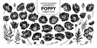 Σύνολο απομονωμένης παπαρούνας σκιαγραφιών σε 42 μορφές Χαριτωμένη συρμένη χέρι διανυσματική απεικόνιση στην άσπρη περίληψη και τ Στοκ Φωτογραφία