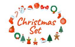 Σύνολο απομονωμένου Χριστούγεννα εικονιδίου Ύφος κινούμενων σχεδίων Διανυσματική απεικόνιση FO Στοκ Εικόνες