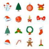 Σύνολο απομονωμένου Χριστούγεννα εικονιδίου Ύφος κινούμενων σχεδίων Διανυσματική απεικόνιση FO Στοκ Φωτογραφία