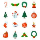 Σύνολο απομονωμένου Χριστούγεννα εικονιδίου Ύφος κινούμενων σχεδίων Διανυσματική απεικόνιση FO Στοκ φωτογραφίες με δικαίωμα ελεύθερης χρήσης