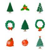 Σύνολο απομονωμένου Χριστούγεννα εικονιδίου Ύφος κινούμενων σχεδίων Διανυσματική απεικόνιση FO Στοκ εικόνες με δικαίωμα ελεύθερης χρήσης