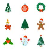 Σύνολο απομονωμένου Χριστούγεννα εικονιδίου Ύφος κινούμενων σχεδίων Διανυσματική απεικόνιση FO Στοκ φωτογραφία με δικαίωμα ελεύθερης χρήσης