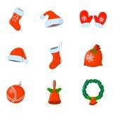Σύνολο απομονωμένου Χριστούγεννα εικονιδίου Ύφος κινούμενων σχεδίων Διανυσματική απεικόνιση FO Στοκ εικόνα με δικαίωμα ελεύθερης χρήσης