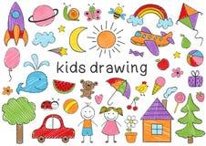 Σύνολο απομονωμένου χρωματισμένου σχεδιασμού παιδιών διανυσματική απεικόνιση
