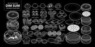 Σύνολο απομονωμένων κινεζικών τροφίμων, αμυδρό ποσό για την κατασκευή σας δικοί Χαριτωμένη συρμένη χέρι άσπρη περίληψη απεικόνιση Στοκ Φωτογραφίες