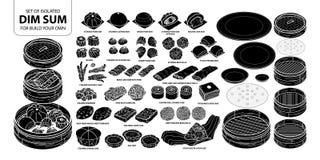 Σύνολο απομονωμένων κινεζικών τροφίμων σκιαγραφιών, αμυδρό ποσό για την κατασκευή σας δικοί Χαριτωμένη συρμένη χέρι διανυσματική  Στοκ φωτογραφίες με δικαίωμα ελεύθερης χρήσης