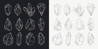Σύνολο απομονωμένων κοίλων κρυστάλλων, ορυκτές περιλήψεις Στοκ Εικόνα