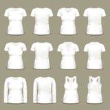 Σύνολο απομονωμένων μπλουζών και τινίκ λευκών γυναικών Στοκ Εικόνες