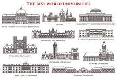 Σύνολο απομονωμένων πανεπιστημίου και ιδρύματος, κολλέγιο ελεύθερη απεικόνιση δικαιώματος