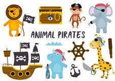 Σύνολο απομονωμένων πειρατών και άλλου μέρους 2 ζώων στοιχείων διανυσματική απεικόνιση