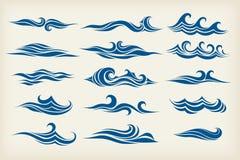 Σύνολο από τα κύματα θάλασσας απεικόνιση αποθεμάτων