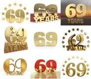 Σύνολο αριθμού εξήντα εννέα έτος σχέδιο εορτασμού 69 ετών Χρυσά στοιχεία προτύπων αριθμού επετείου για τη γιορτή γενεθλίων σας 3 διανυσματική απεικόνιση