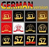Σύνολο αριθμού πενήντα επτά 57 έτη σχεδίου εορτασμού Χρυσά στοιχεία προτύπων αριθμού επετείου για τη γιορτή γενεθλίων σας tran διανυσματική απεικόνιση